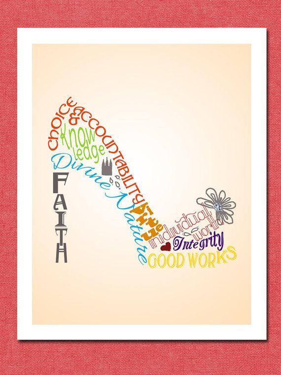Printable Digital Young Women Values Poster, High Heel Shoe, 5x7 ...