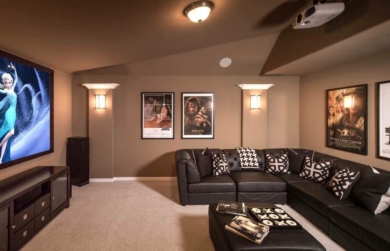 Design idea for upstairs loft/movie room. LOVE the warm brown color!