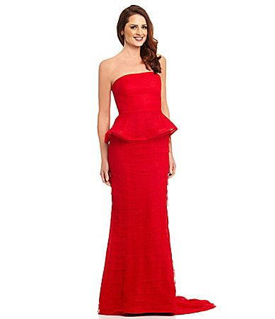 OMG! it comes in red??? Adrianna Papell Strapless Shutter Peplum ...