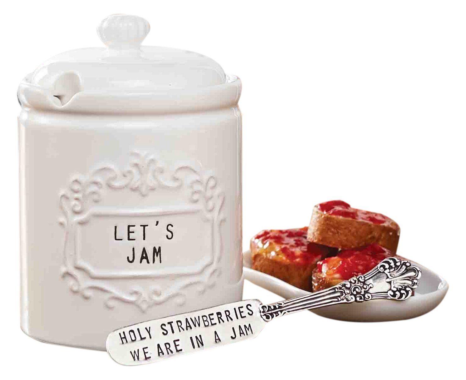 Amazon.com | Mud Pie 4771003 Vintage Ceramic Jam Jar Set with ...