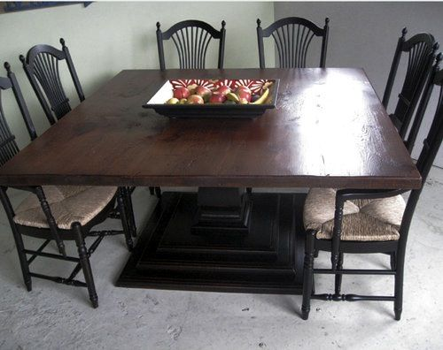 Farmhouse Kitchen Table Square black tiered pedestal base with 5'ft square dining room table