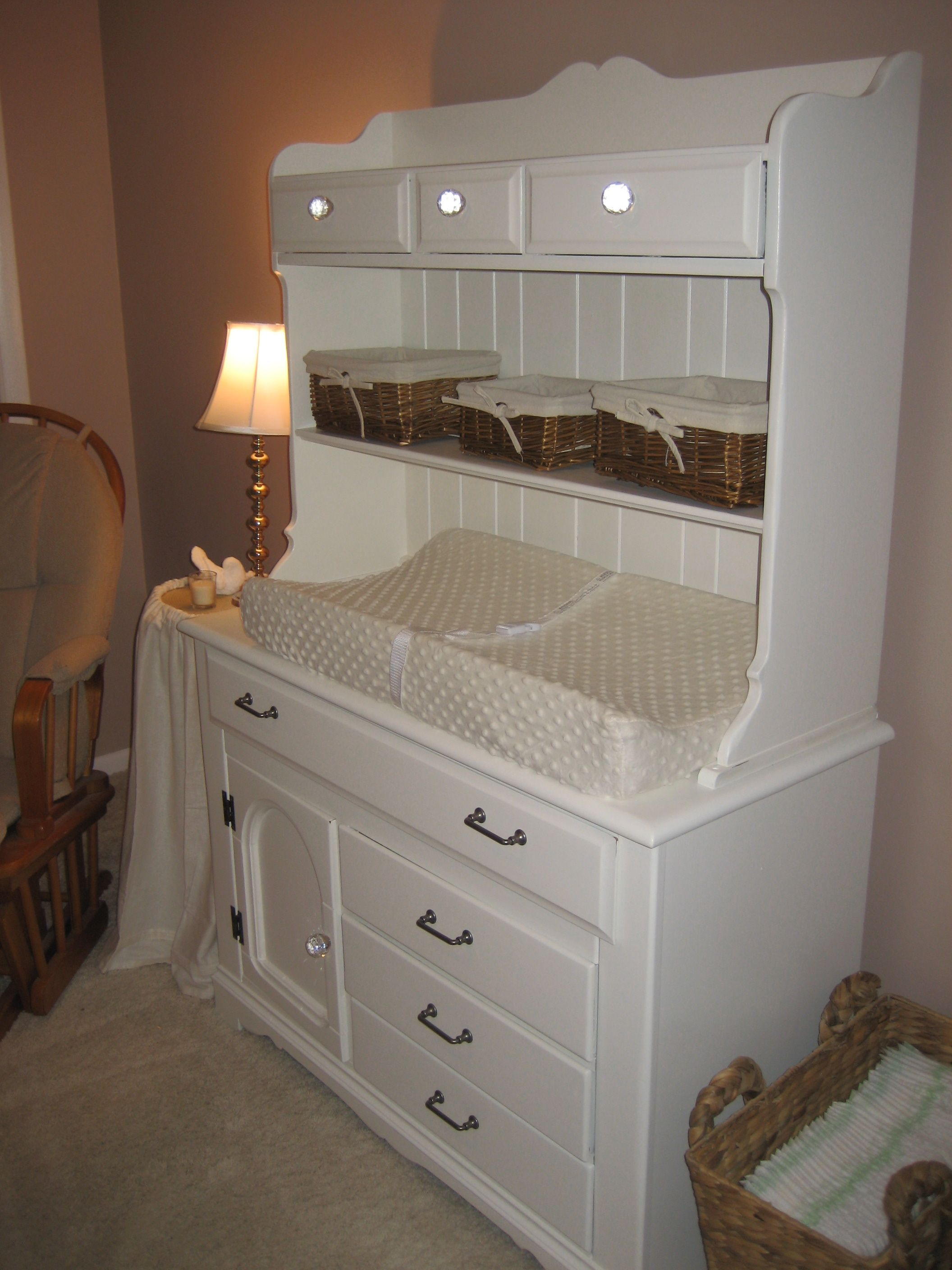 The Hutch I Refinished To Use As A Changing Table For Claireu0027s Nursery.
