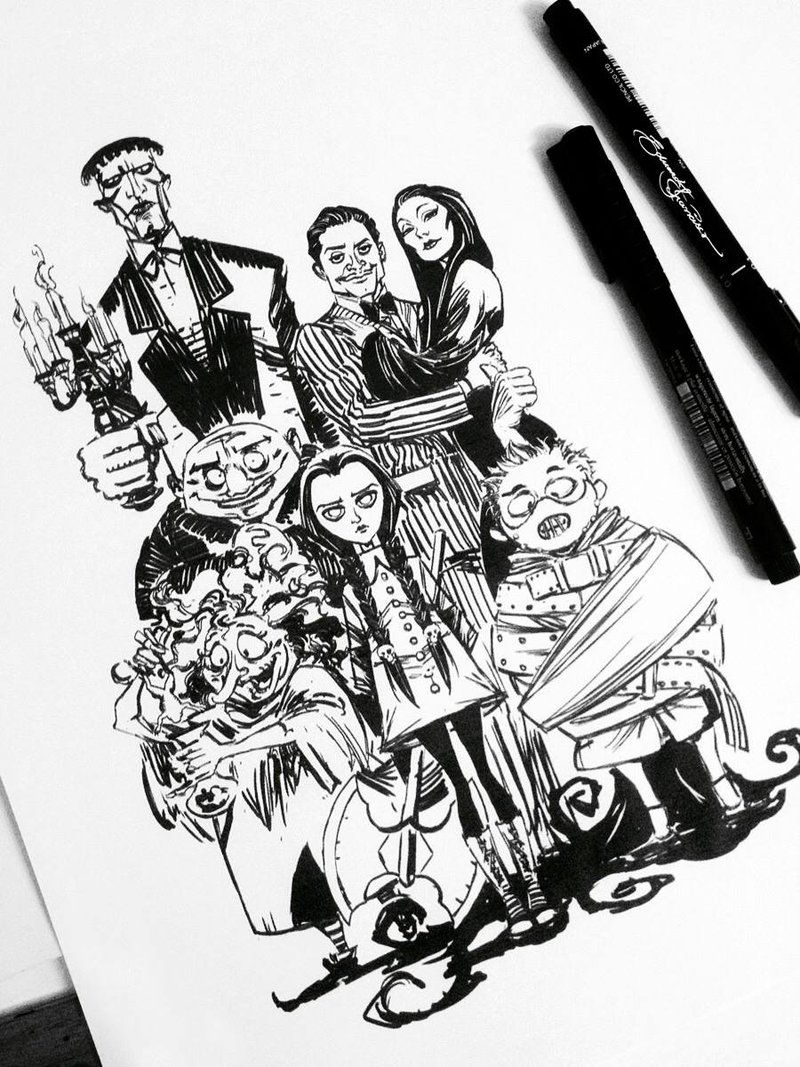 The Addams Family Family Drawing Art Addams Family