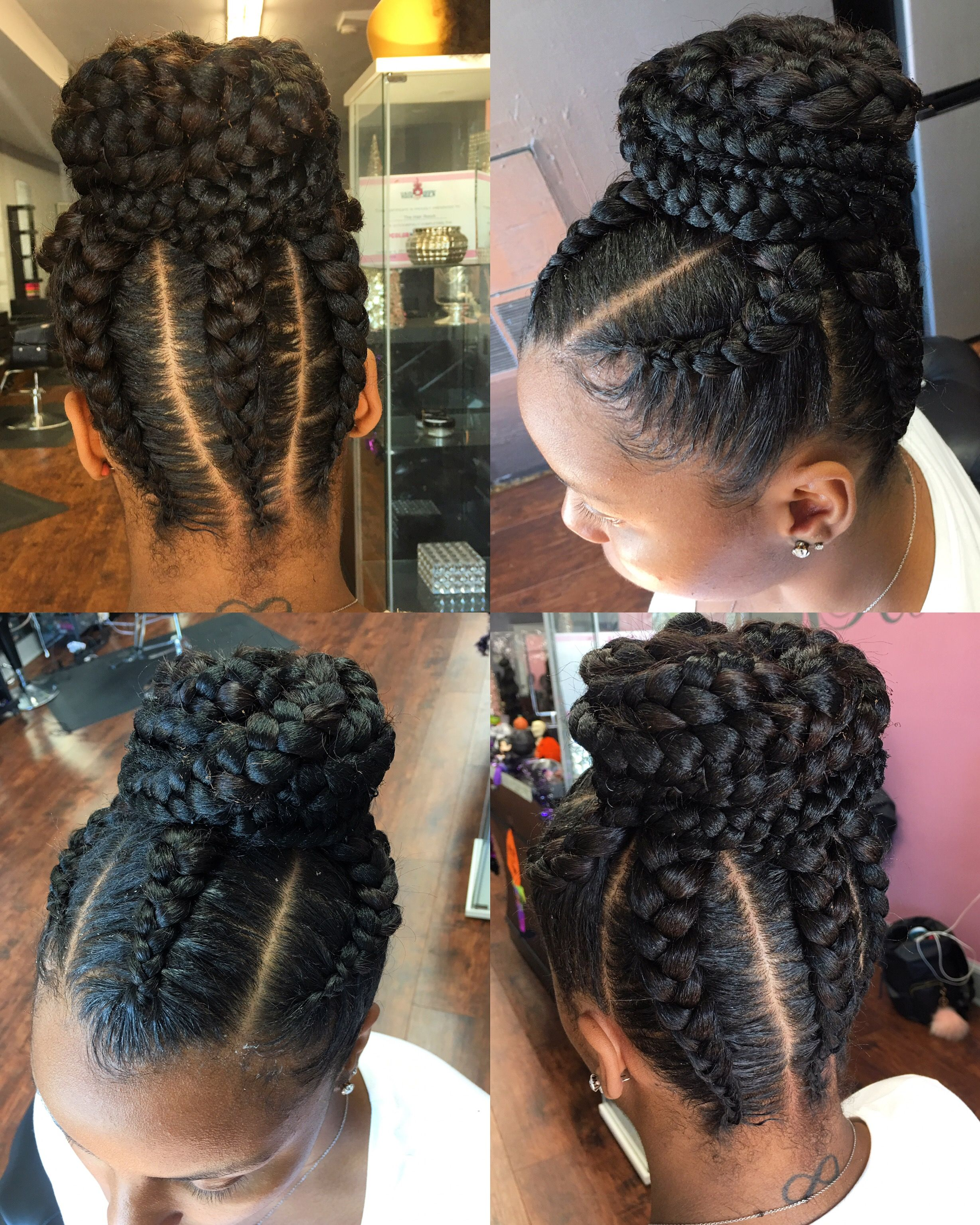 Get Into This Updo With Goddess Feedin Braids Natural Hair Styles Cornrow Updo Hairstyles Box Braids Hairstyles