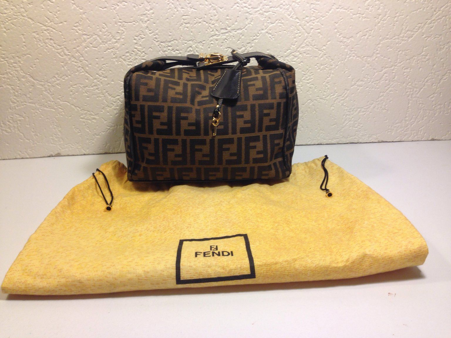 Check out Fendi Zucca Cosmetic Vanity Carry On Handbag on