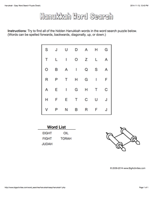Hanukkah word search puzzle with the Torah. 4 levels of ...
