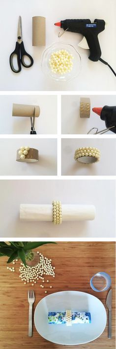 Upcycle, upcycle, upcycle! Don't we all want to do our part? As much as we have good intentions, with so much to worry about, things like saving toilet tissue rolls and milk cartons from the trash don't always top our list of 'to-do's.' Well, with this quick, easy and sweet way to use some of those empty rolls as napkin rings, you won't need to worry about a guilty conscience.