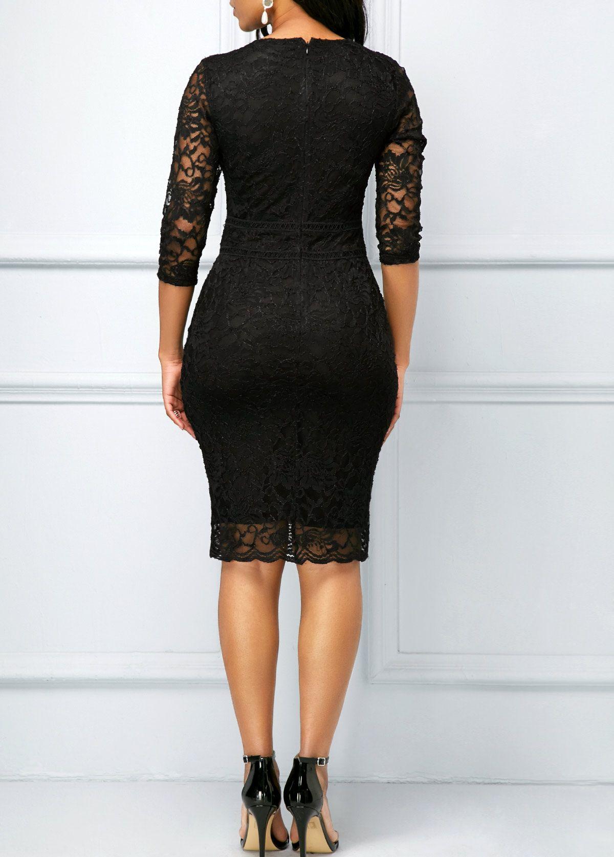 V neck black lace dress  V Neck Black Three Quarter Sleeve Lace Dress  Pinterest  Quarter