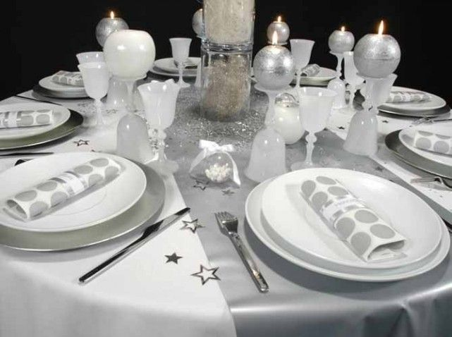 D co table de f te option table set pinterest deco - Decoration de table de noel argent ...