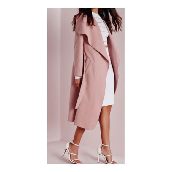 Small dusty pink rose waterfall trench coat NWT | Waterfall trench ...