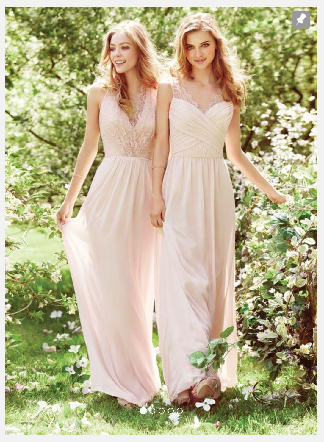Hayley Paige Lace And Chiffon Blush Bridesmaid Dress