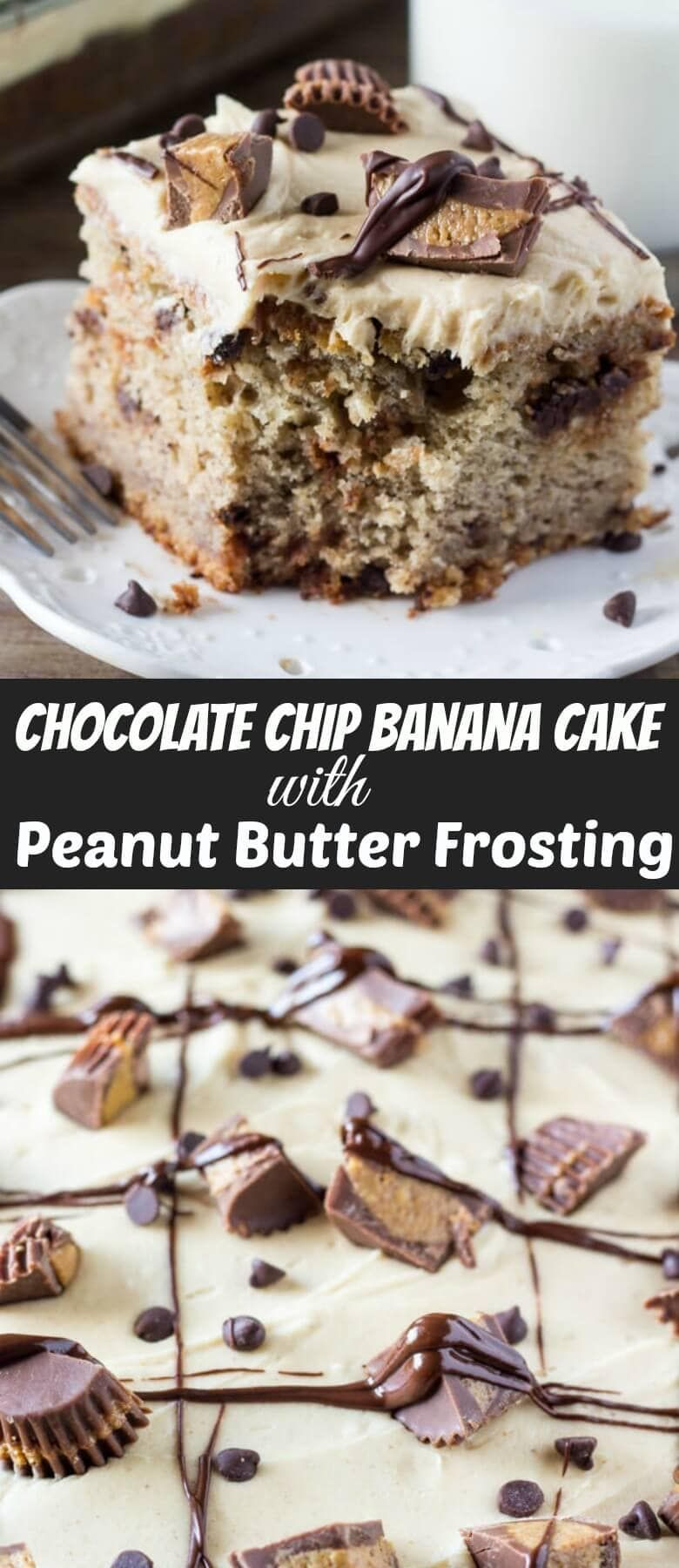 Chocolate Chip Banana Cake with Peanut Butter Frosting – Oh Sweet Basil