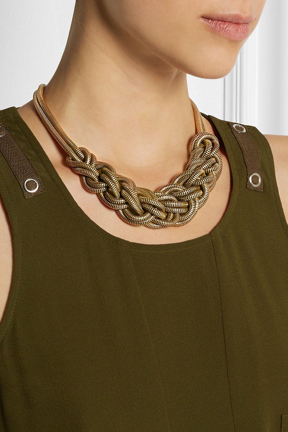 J.Crew Braided gold-tone necklace NET-A-PORTER.COM