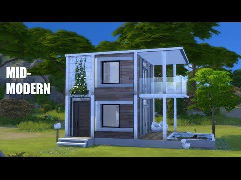 Sims 4 Speed Build Mid Modern Starter Youtube Sims House Sims House Plans Sims 4 Modern House