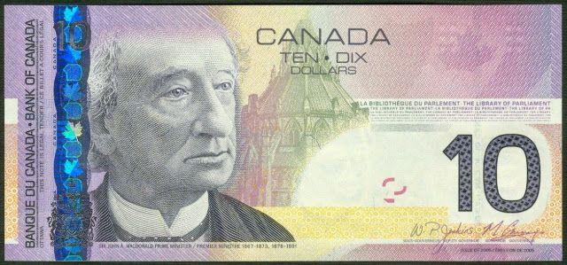 Canada Banknotes 10 Dollar Bill 2005 Sir John Alexander