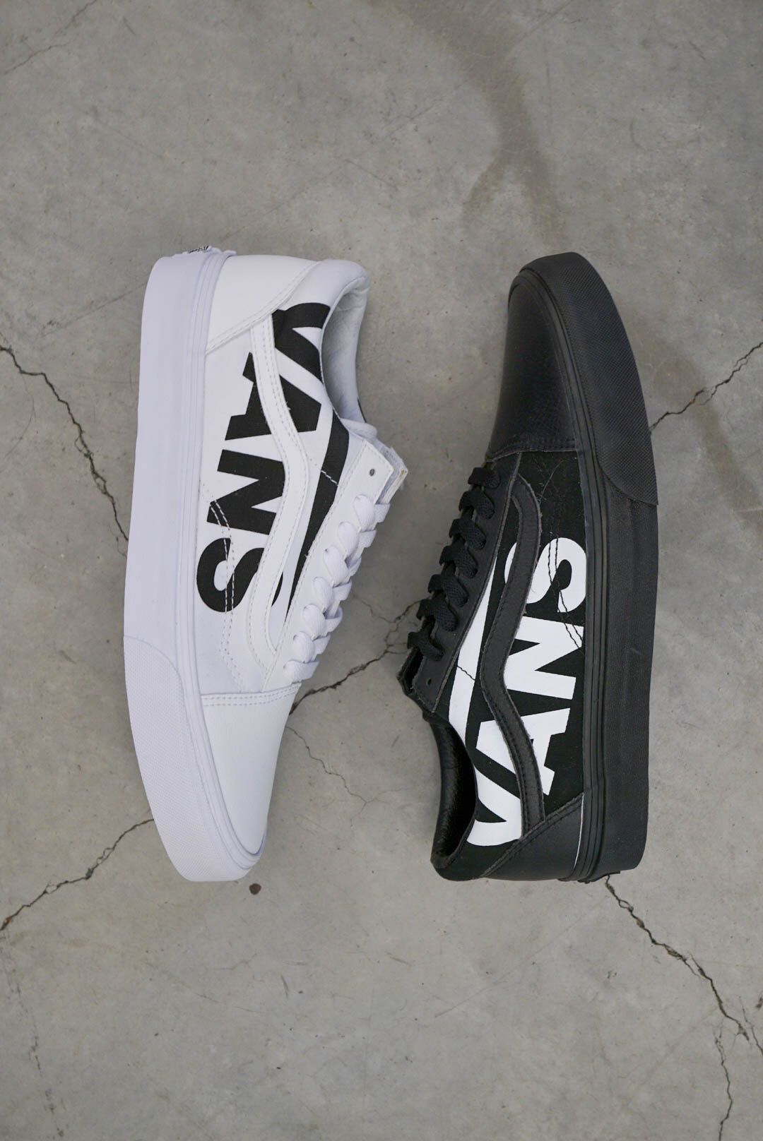 Vans Old Skool White Logo Black Skate