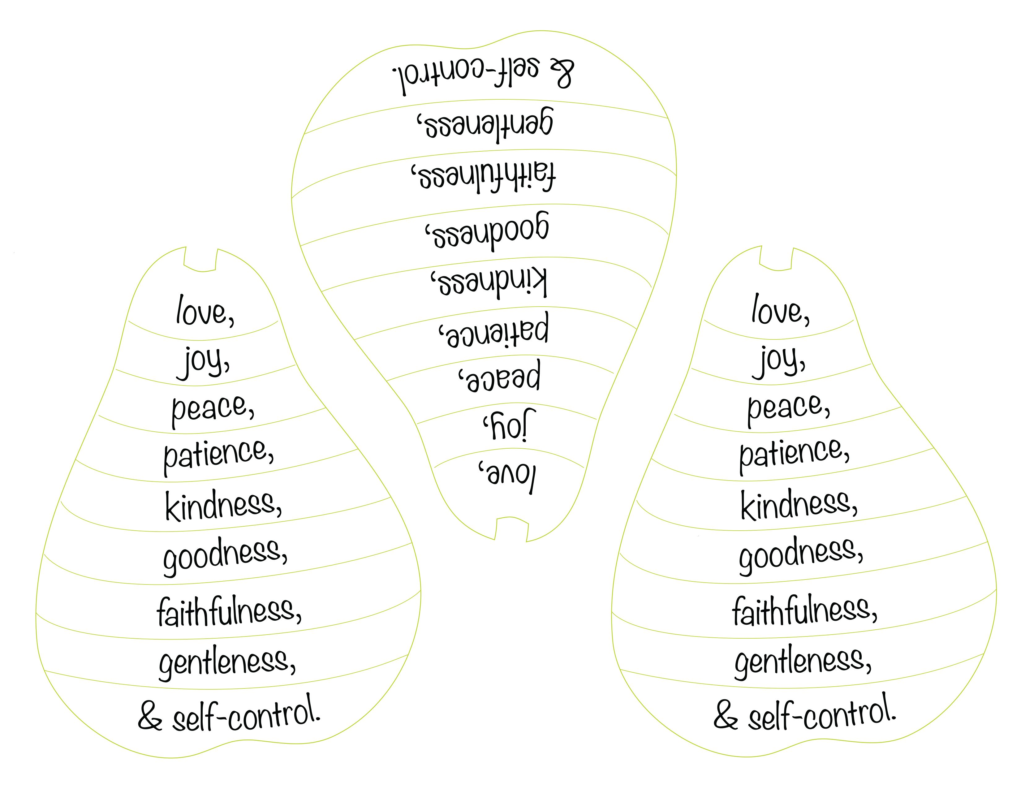 Fruits Of Spirit Craft Strips These Go With The Other Template With Pear Image I Printed Childrens Church Lessons Fruit Of The Spirit Bible Lessons For Kids