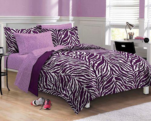Twin Xl Bed In Bag Purple White Safari 6 Pc Comforter Set