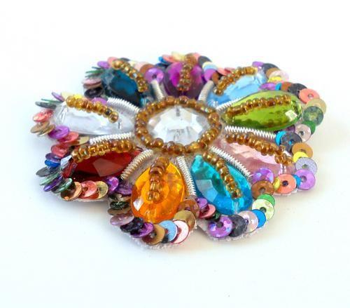 Rhinestone Applique Rainbow Multicolor Beaded Sequin Applique Summer | folkstrokesupplies - Floral on ArtFire