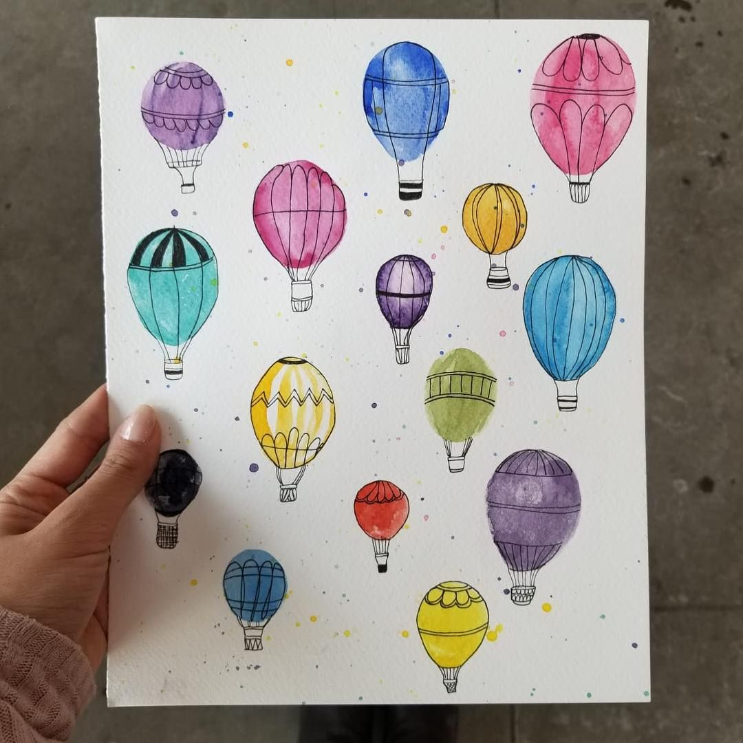These Watercolor Hot Air Balloons Would Make Such A Cute