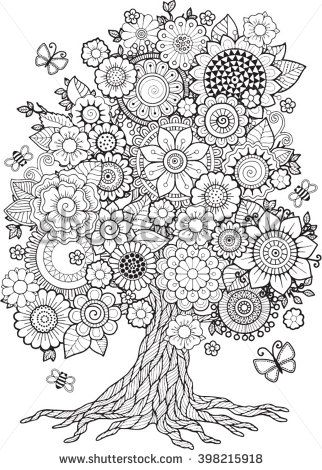 Blossom Tree Vector Elements Coloring Book For Adult Doodles Meditation