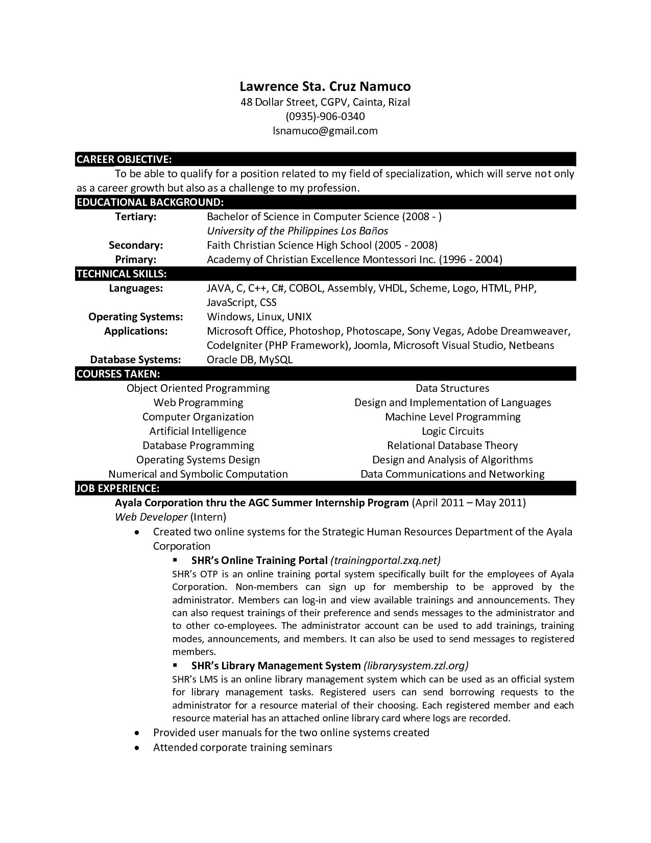 Computer Science Computer science, Internship resume