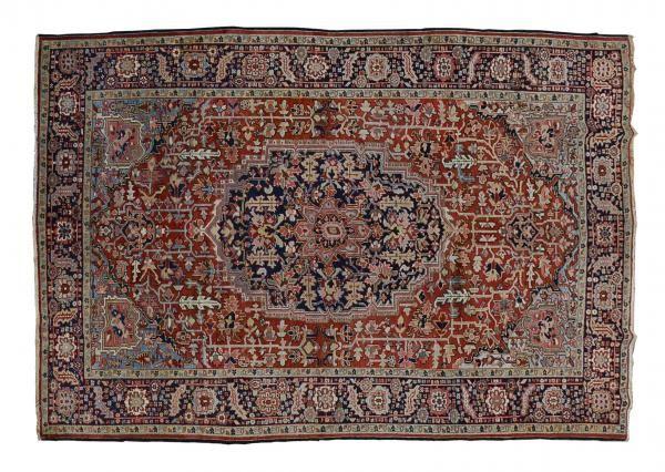 HERIZ / IRAN  Item Number:20073 Width: 7 ft. 2 in. Length: 11 ft. 2 in. Field: MEDALLION Field Color: RED Border Color: NAVY www.togarrugs.com (828)-687-1968