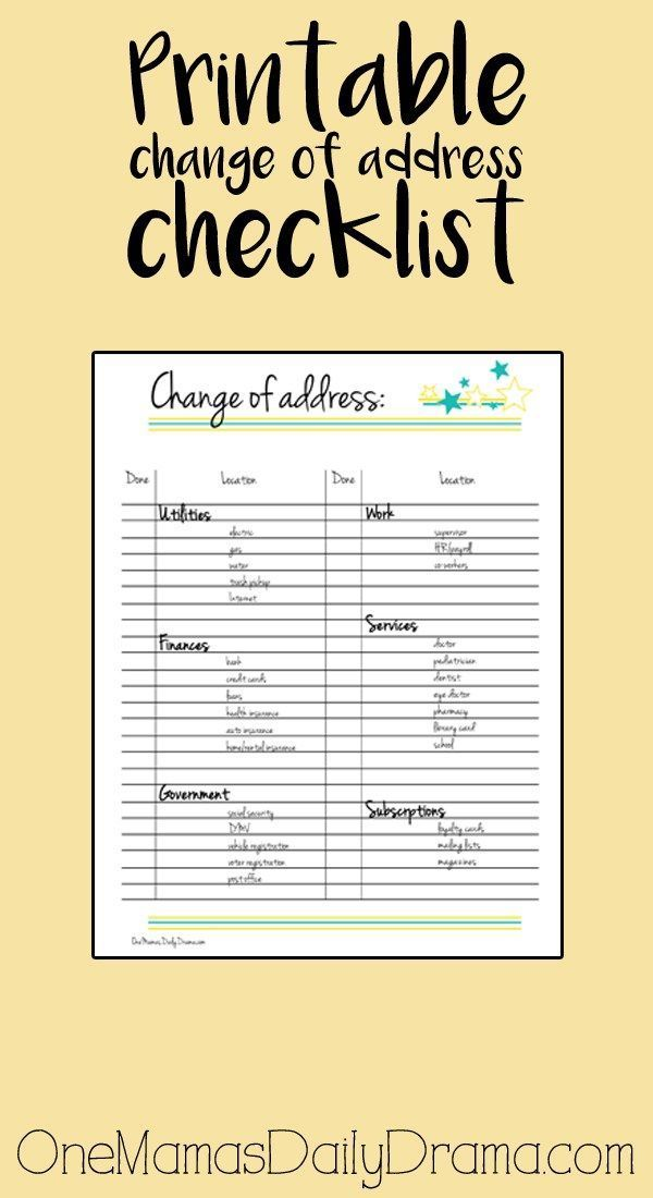 Ausziehen Checkliste Printable Change Of Address Checklist - #address #change #