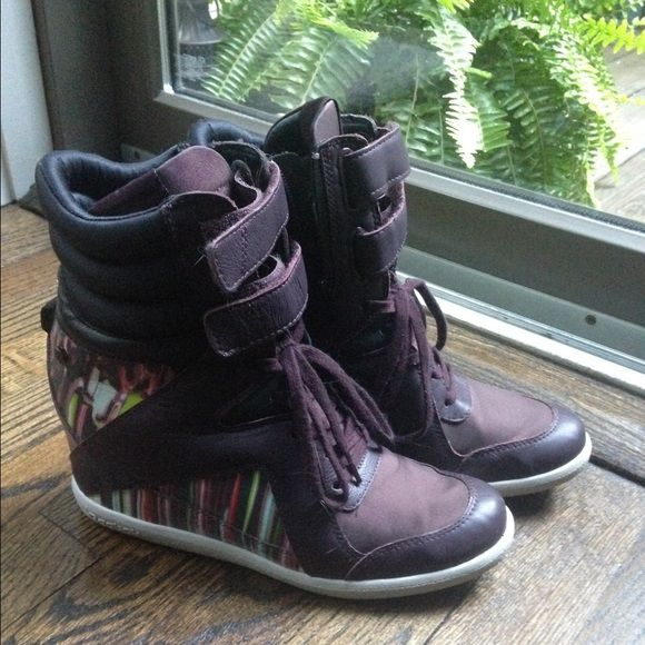 reebok wedge sneakers (Alicia keys). super comfortable wedge sneakers.  maroon with pink white black streaked graphic on heel. Reebok Shoes Sneakers 9e9f47816