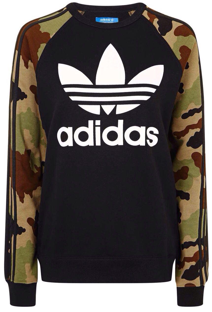 TOPSHOP Black Camo Print Trefoil Sweatshirt by Adidas Originals ... 7090863f6c5