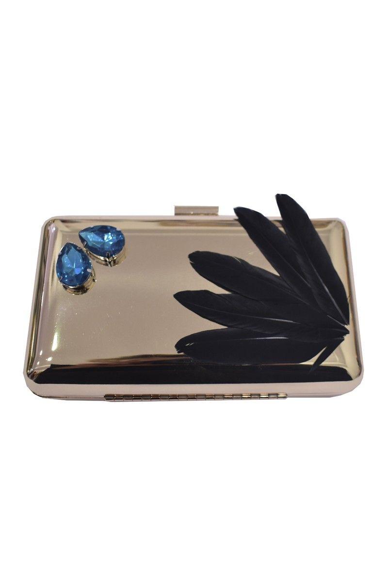 59591df33 bolso de fiesta laton dorado con plumas de ganso negras y piedras azules  para invitada boda, bautizo. comunion, apparentia collection