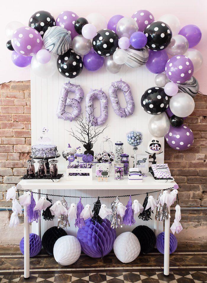 Purple Black and White Halloween dessert table
