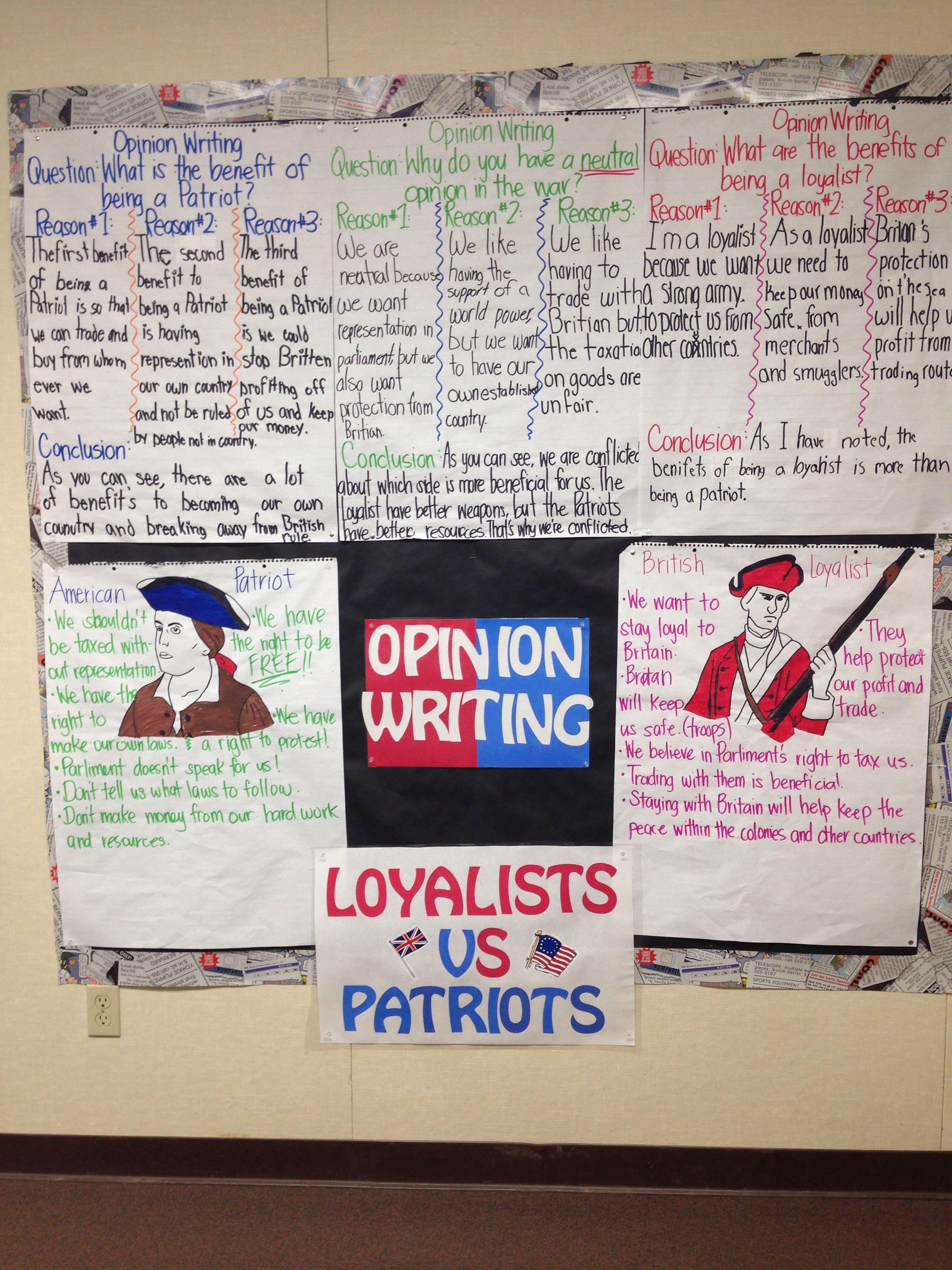 Loyalist Vs Patriots Group Opinion Writing Activity