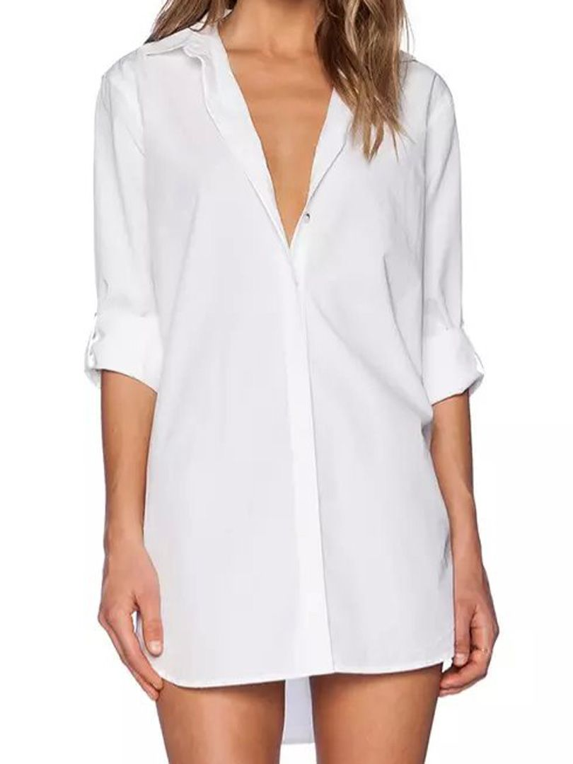 Classic White long sleeves pretty women/'s dress