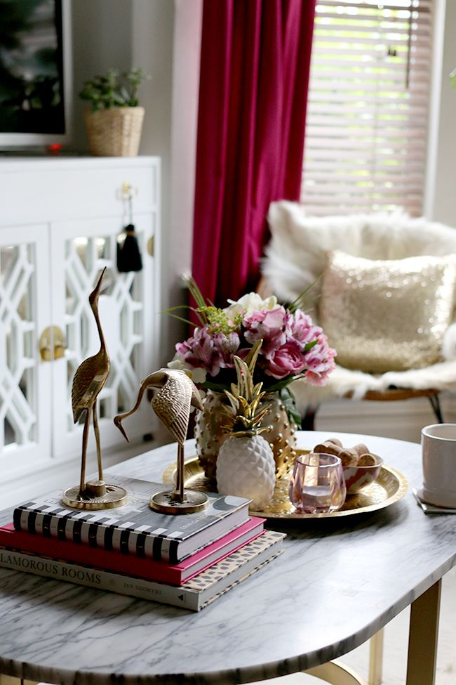 Coffee Table Styling Brass Cranes Marble Coffee Table Pink Flowers White And