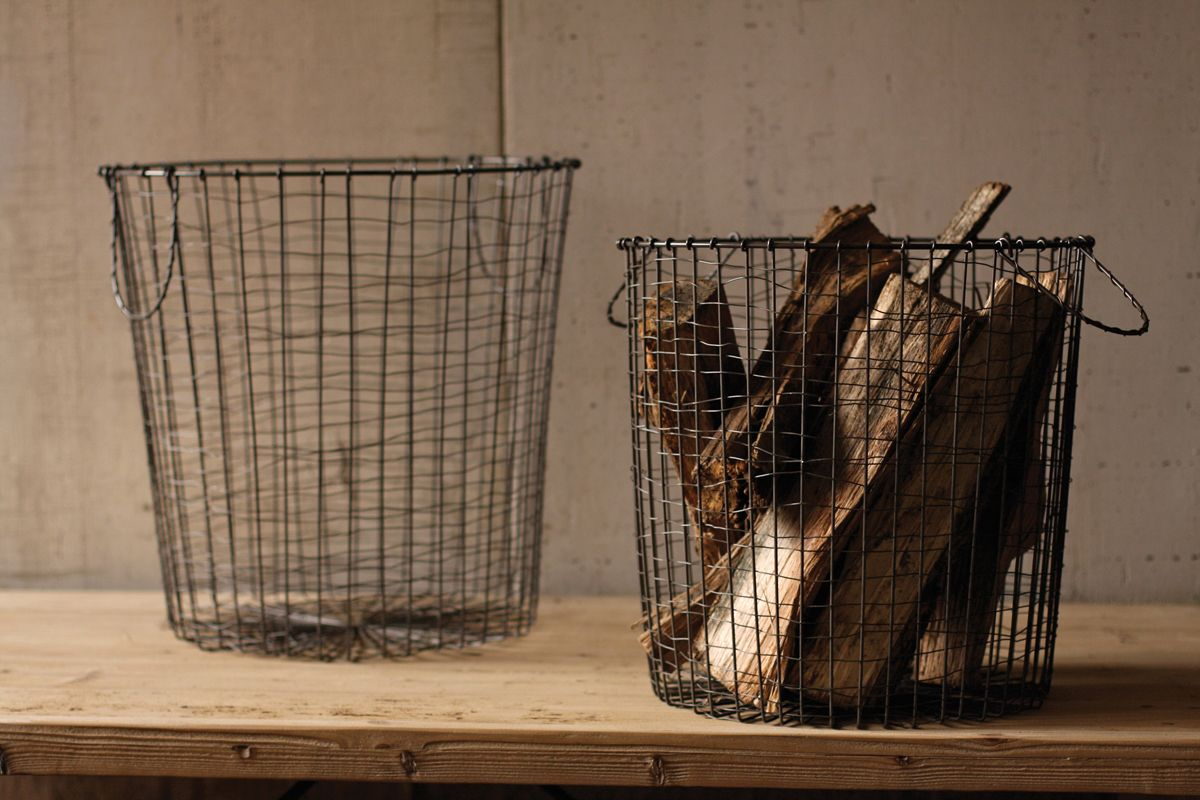 Great Round Vintage Utilitarian Wire Baskets, Set Of 2   (click Through To Get The
