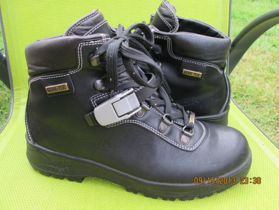 f1f5aa21b87b1 Vintage Trezeta black leather boots mens goretex by Simplemiles ...