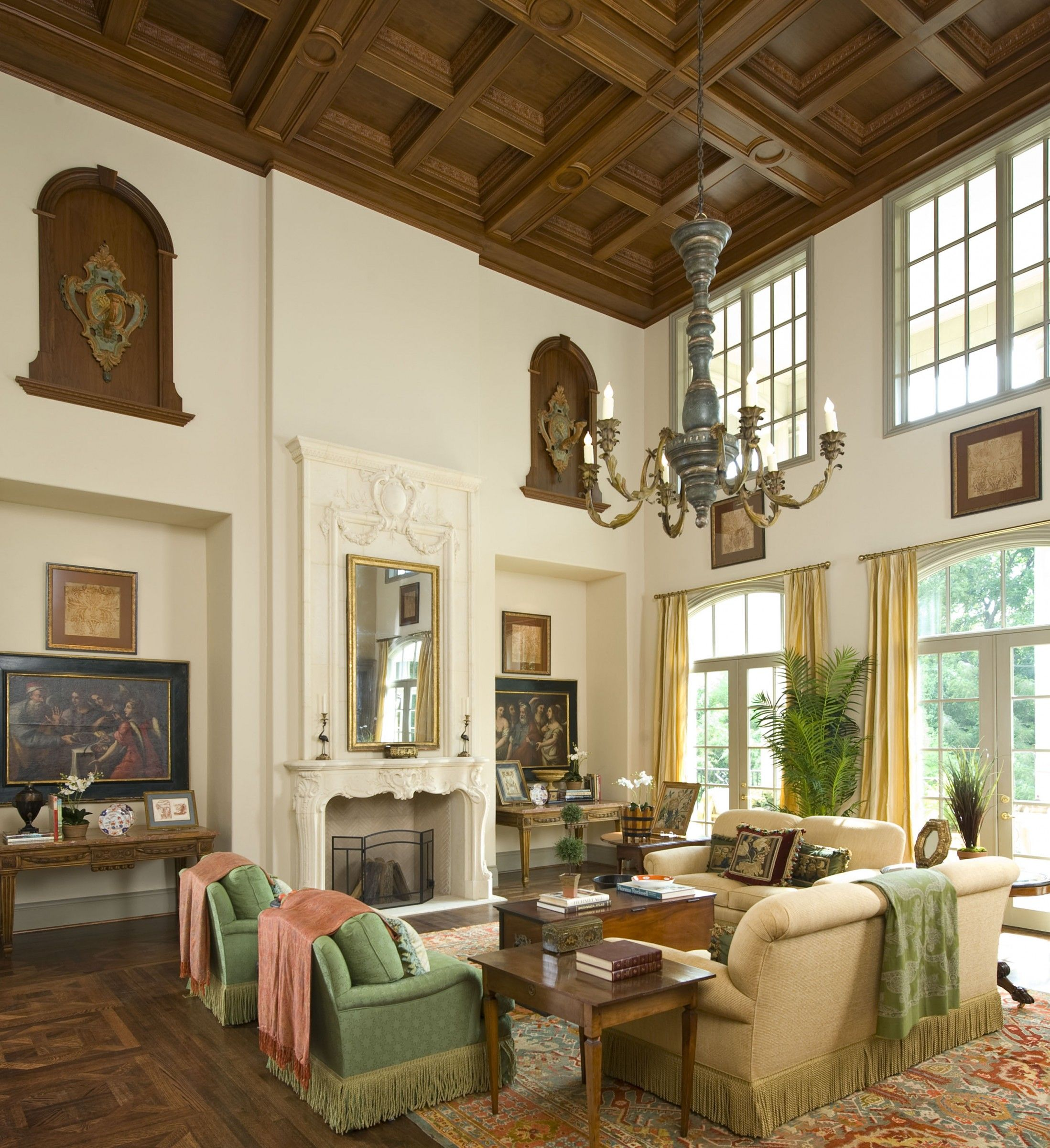 french formal living room. Formal Living Area Of A French Classical House In Highland Park, TX. Coffered Ceiling Room L