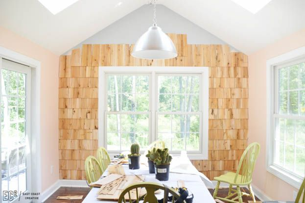 Best Diy Shingle Accent Wall Accent Wall Geometric Living 640 x 480