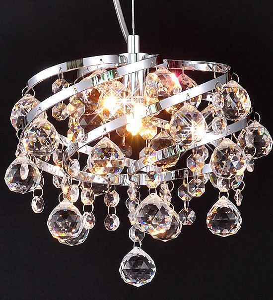 OXANA-Ø24cm DROP CRYSTAL CEILING LAMP CHANDELIER LIGHTING PENDANT CHROME FITTING