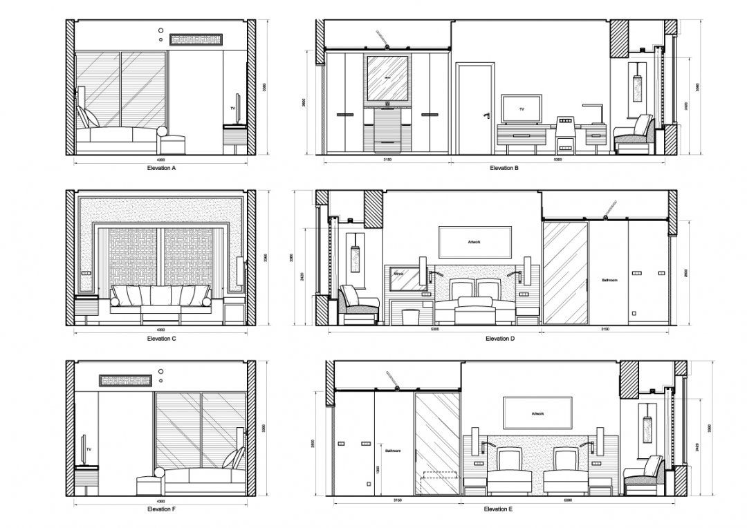 Autocad Elevation Drawings Free Plan Of Interior Design Bedroom