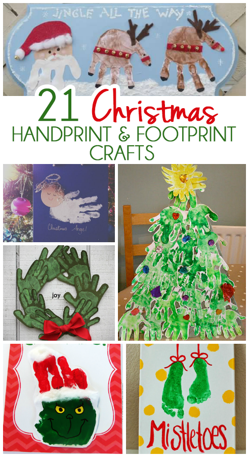 21 Handprint and Footprint Christmas Crafts | Footprints, 21st and ...