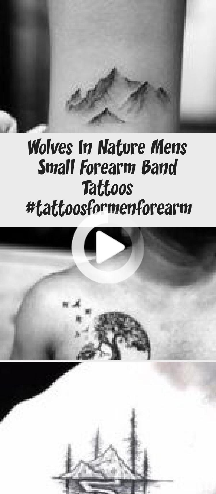 Wölfe in der Natur Mens Small Forearm Band Tattoos #tattoosformenforea