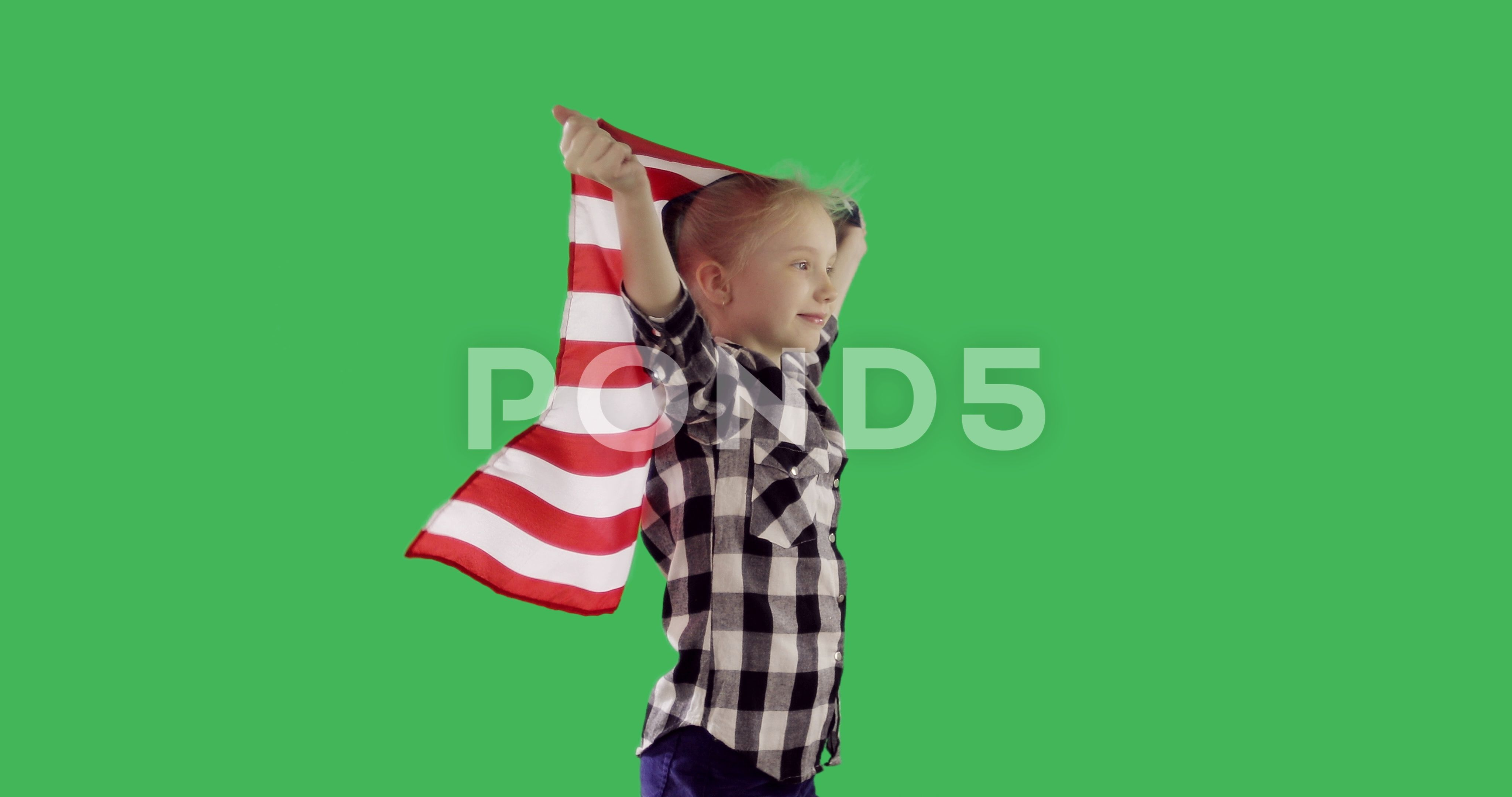 Child Girl Teenager Is Running With American Flag On Chroma Key Green Screen Stock Footage Ad Running American Flag Child Chroma Key Kids Girls Greenscreen
