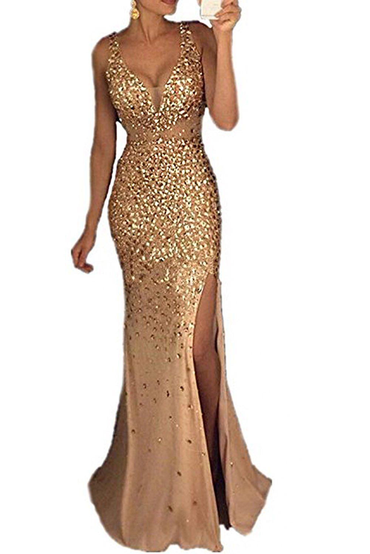 Rjer womenus luxury beaded crystal mermaid prom dresses split