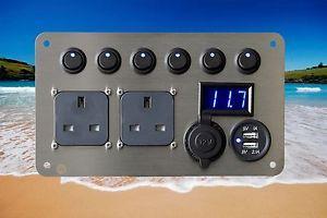 Vw-T2-Bay-Window-Campervan-Conversion-12v-240v-USB-Voltmeter-Electrical-Panel