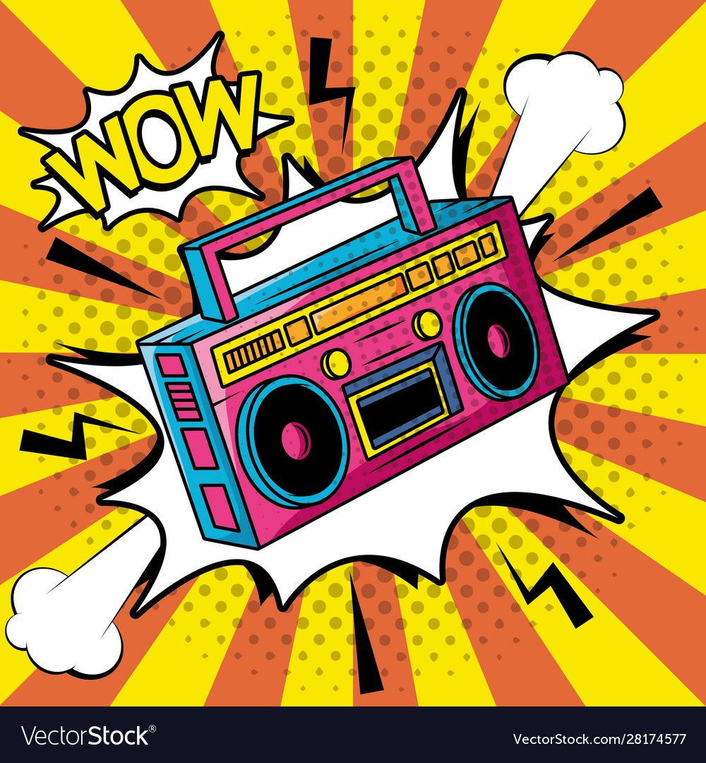 Retro radio music player pop art style vector image on en
