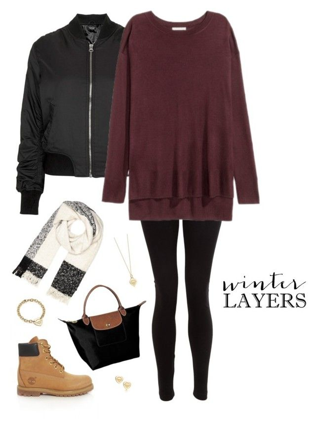 """""""winter layers ❄️"""" by xofashionismylovexo ❤ liked on Polyvore featuring Topshop, American Apparel, Timberland, Longchamp, River Island and Tiffany & Co."""