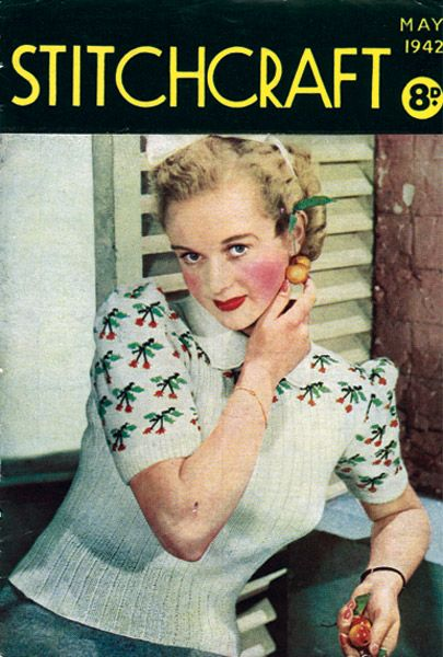 Free Vintage Knitting Patterns 1940s : Free Vintage Knitting Pattern from the 1940s : Cherry Ripe Jumper FREE Vint...