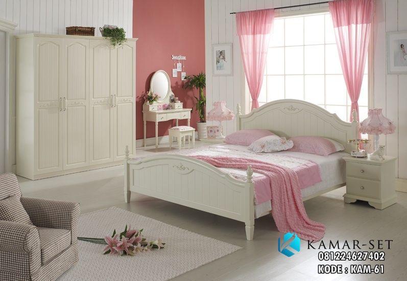 Set Tempat Tidur Remaja Perempuan Kam 61 Minimalis Putih Duco Desain